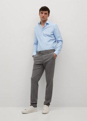 Костюмная рубашка slim fit из хлопка - Emeritol Mango. Цвет: небесно-голубой