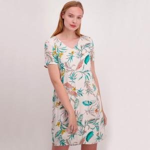 Платье с V-образным вырезом и рисунком пальмы VERO MODA. Цвет: рисунок/красный фон,рисунок/фон темно-синий,рисунок/фон экрю