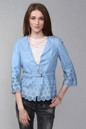 Кожаная куртка SCERVINO. Цвет: голубой