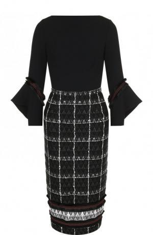 Приталенное платье-миди из смеси хлопка и шерсти Roland Mouret. Цвет: черный