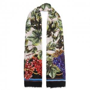 Шаль из шерсти и кашемира Dolce & Gabbana. Цвет: разноцветный