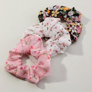 Резинка для волос с цветочным узором 3шт SHEIN. Цвет: многоцветный