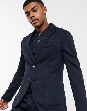 Темно-синий приталенный пиджак Celio