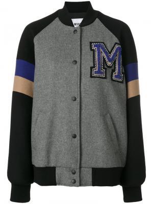 Университетская куртка-бомбер MSGM. Цвет: серый