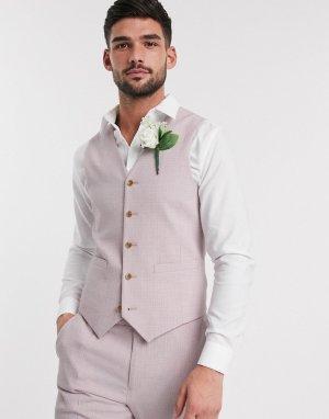 Розовый приталенный жилет wedding-Розовый цвет ASOS DESIGN