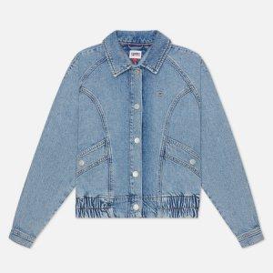 Женская джинсовая куртка Back Logo Cropped Denim Cargo Tommy Jeans. Цвет: голубой