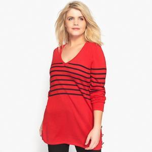 Пуловер из тонкого трикотажа с V-образным вырезом CASTALUNA. Цвет: красный