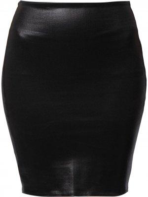 LAgence юбка-карандаш из искусственной кожи L'Agence. Цвет: черный