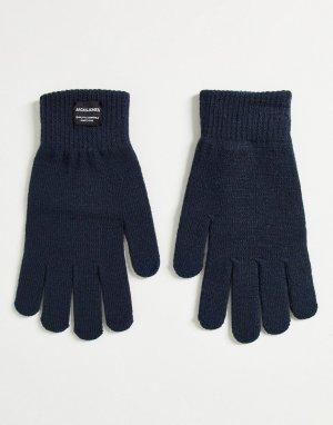 Темно-синие вязаные перчатки в классическом стиле -Темно-синий Jack & Jones