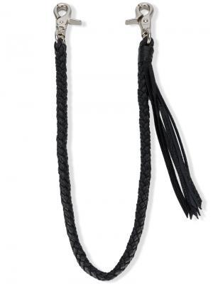 Плетеный косичкой кожаный ремешок для кошелька Yohji Yamamoto. Цвет: чёрный
