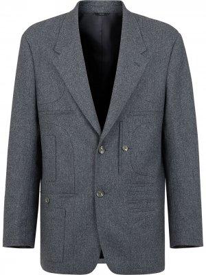 Пиджак прямого кроя Fendi. Цвет: серый
