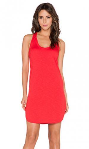 Мини платье из футера с широким вырезом y-образные шлейки на спине Lanston. Цвет: красный