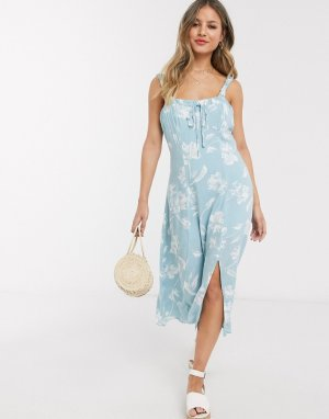 Голубое платье миди с цветочным принтом -Синий Gilli