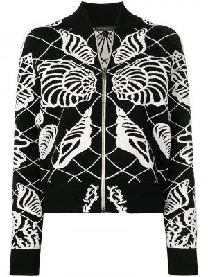 Куртка-бомбер с декором в виде ракушек Alexander McQueen. Цвет: черный
