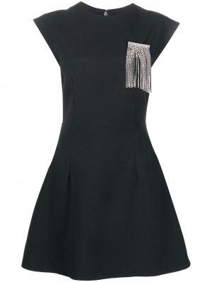 Расклешенное платье с кристаллами Christopher Kane. Цвет: черный