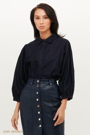 Трендовая джинсовая блузка с объемными рукавами LOVE REPUBLIC