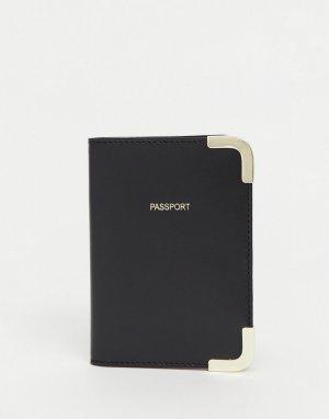 Черная кожаная обложка для паспорта -Черный цвет ASOS DESIGN