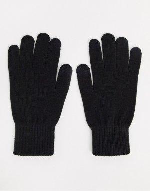 Черные вязаные перчатки -Черный Jack & Jones