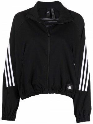 Спортивная куртка с контрастными полосками adidas. Цвет: черный