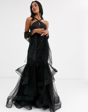 Платье-халтер с оборками на юбке -Черный Jovani