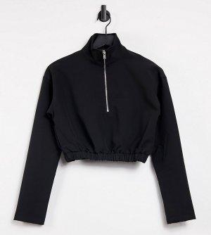 Черный свитшот классического кроя на короткой молнии от комплекта -Черный цвет Missguided Tall