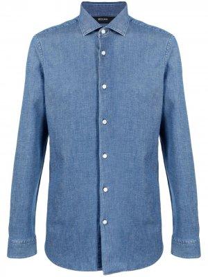 Джинсовая рубашка с длинными рукавами Z Zegna. Цвет: синий