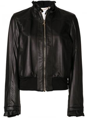 Куртка с оборками Patrizia Pepe. Цвет: чёрный