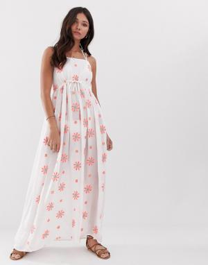 Пляжное платье макси с цветочной вышивкой и отделкой Anmol
