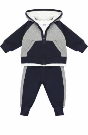 Комплект из спортивного костюма и лонгслива с вышивкой Aletta. Цвет: синий