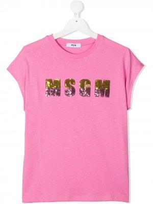Футболка с пайетками Msgm Kids. Цвет: розовый