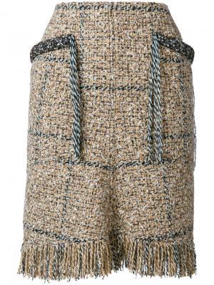 Твидовая короткая юбка Sonia Rykiel. Цвет: коричневый
