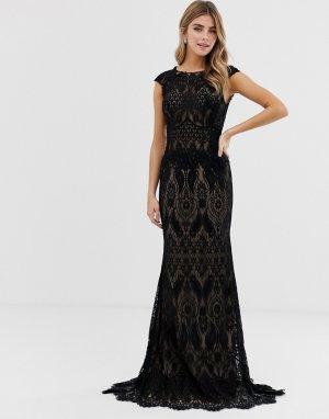 Кружевное платье макси -Черный Jovani