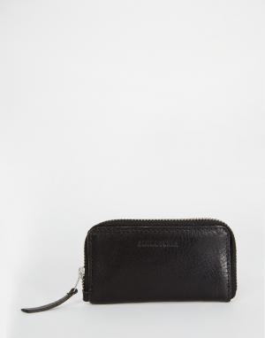 Кожаный кошелек на молнии Jack & Jones. Цвет: черный