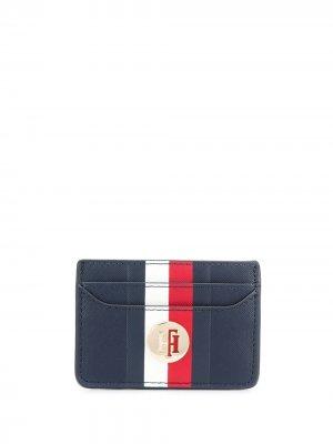 Картхолдер в полоску с логотипом Tommy Hilfiger. Цвет: синий