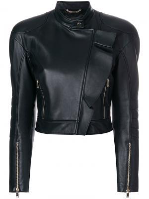 Укороченная куртка в байкерском стиле Versace. Цвет: чёрный