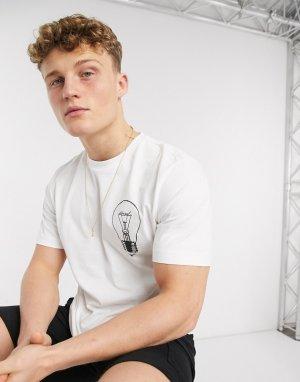 Белая футболка с лампочкой и логотипом -Белый Diesel