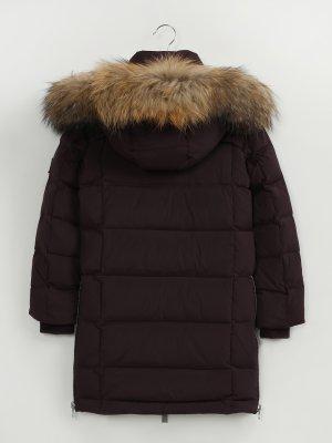 Удлиненная куртка с капюшоном Finisterre. Цвет: bordovyy