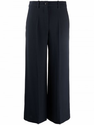 Шелковые брюки прямого кроя Valentino. Цвет: синий