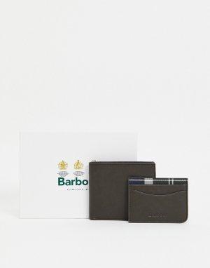 Оливковый кожаный бумажник и кредитница -Зеленый цвет Barbour