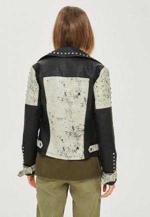 Куртка кожаная Topshop. Цвет: разноцветный