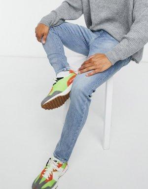 Голубые выбеленные узкие джинсы ED80-Синий Edwin