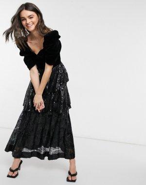 Черное платье макси с многоярусной юбкой пайетками Bardot-Черный Virgos Lounge