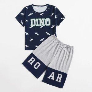 Для мальчиков Пижама с принтом динозавра SHEIN. Цвет: многоцветный