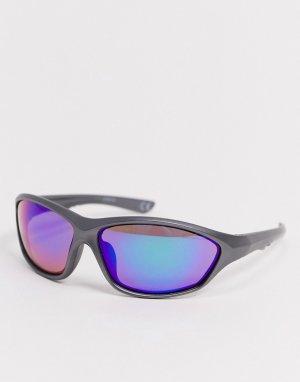 Солнцезащитные очки-маска с темно-серой пластиковой оправой -Серый ASOS DESIGN