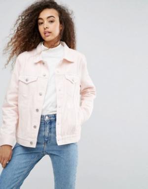 Джинсовая куртка Single Girlfriend Weekday. Цвет: розовый