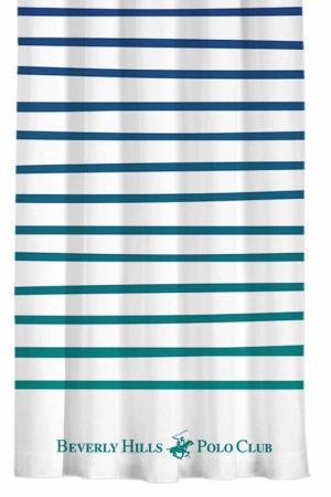 Штора, 140х260 Beverly Hills Polo Club. Цвет: white, blue, green