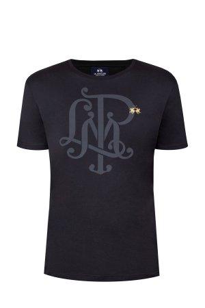 Черная футболка из хлопкового джерси с принтом-монограммой LA MARTINA. Цвет: черный