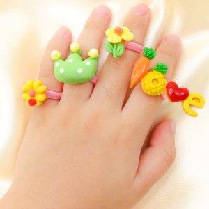4шт Мультипликационное открытое кольцо для девочек SHEIN. Цвет: многоцветный