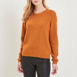 Пуловер с круглым вырезом и длинными рукавами из тонкого трикотажа VILA. Цвет: ореховый