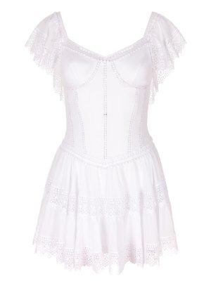 Платье-туника с шитьем CHARO RUIZ. Цвет: белый